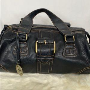 Tommy Hilfiger black satchel with tan stitching